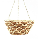 "12"" Banana Leaf Round Hanging Basket."