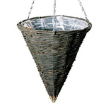 "14"" Willow Ratten Cone Hanging Basket"