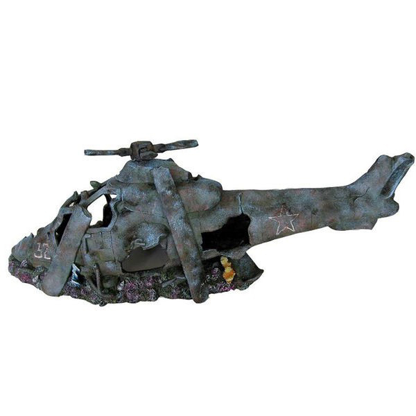 Helicopter Wreck Aquarium Ornament Small 1