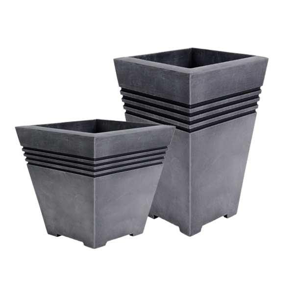 matte products grey square geo fiberglass planters contemporary puremodern squ planter